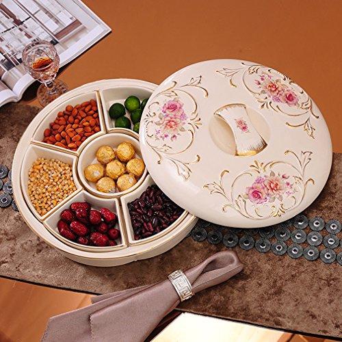 GUO - plaque de fruits en céramique de style européen avec couvercle bonbons plat snack plaque salon table basse décoration ornements bac à fruits secs plateau