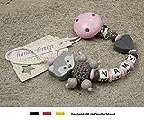 Baby SCHNULLERKETTE mit NAMEN | Schnullerhalter mit Wunschnamen - Mädchen Fuchs und Herz in rosa, grau