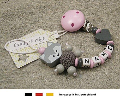 Baby SCHNULLERKETTE mit NAMEN - Schnullerhalter mit Wunschnamen - Mädchen Fuchs und Herz in rosa, grau