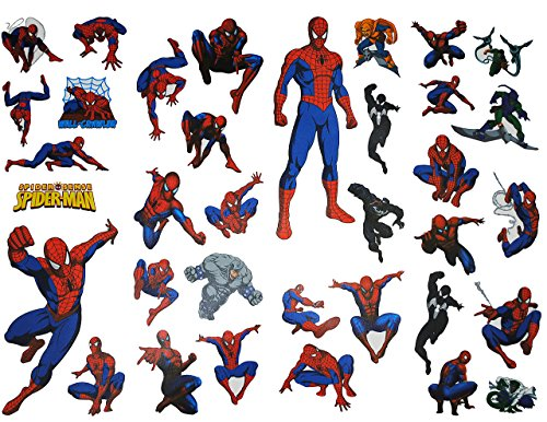 alles-meine.de GmbH 35 TLG. Set Wandtattoo / Fensterbild Spiderman XXL Kind Kinder - Junge Spider-Man - Wandsticker - Tattoo - Sticker / Aktion Figur - Fensterbilder