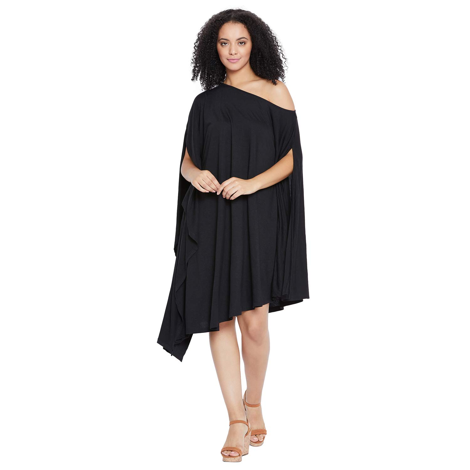 FEMELLA Women's Black Off Shoulder Assymetric Dress