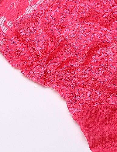 Avidlove Damen Negligee mit Spitzen an Brust Sexy Neckholder Reizwäsche Set Sleepwear Kleid Baby Dolls Dessous Set Lingerie Nachtwäsche Rosa
