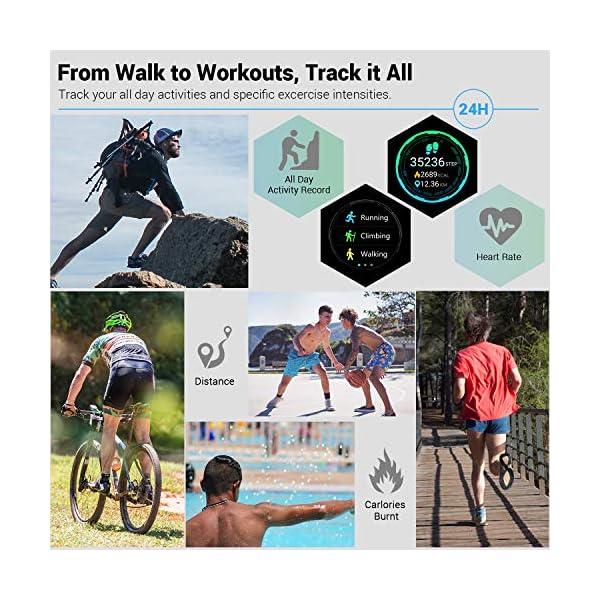 CatShin Smart Watch Tracker de Actividad, Pantalla táctil smartwatch Fitness Tracker, Reloj Deportivo Bluetooth IP67 a Prueba de Agua con Monitor de frecuencia cardíaca, Compatible con Android iOS 3