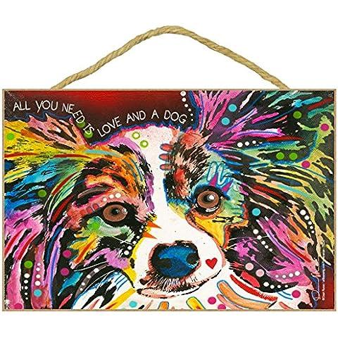 Chihuahua (pelo lungo), colorato, confezione regalo 'Dean Russo' design art decor Wall Plaque–dimensioni 17,8x 26,7cm - Puppy Dog Wall Plaque