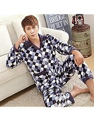 &zhou pijama hombre ocio Rebeca mantenga caliente pijama grueso casa ropa de invierno , 1 , xxl