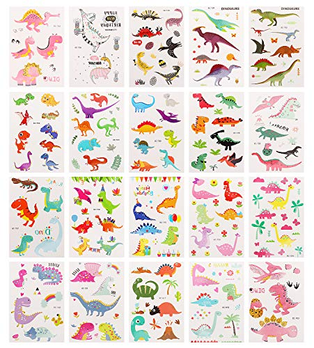 Zooawa 106 Dinosaur Temporary Tattoo, [20 Sheet] Waterproof & Removable Body Stickers Kids Cute Dino Tattoos Festival Party Favor Fake Tattoos Sticker Set for Boys and Girls, Colorful