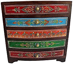 Theshopy Decorative Handmade Wooden Drawer Chest, 5 Drawers (25 cm x 25 cm x 11.25 cm, H...