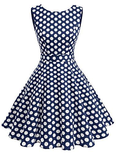Wedtrend 50s Retro Vintage Dot Einfarbig Rockabilly Ärmellos Kleid Faltenrock WTP10005 Navy Dot L