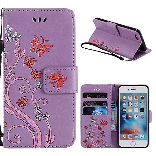 """MOONCASE iPhone 6 Plus/iPhone 6s Plus Coque, [Embossed Pattern] Durable PU Cuir Portefeuille Housse pour iPhone 6 Plus/6s Plus 5.5"""" Anti-dérapante Anti-choc Protection Etui Cases Noir Violet"""
