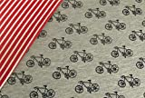 0,5m Jersey Fahrräder grau melange & 0,5m Jersey Ringel