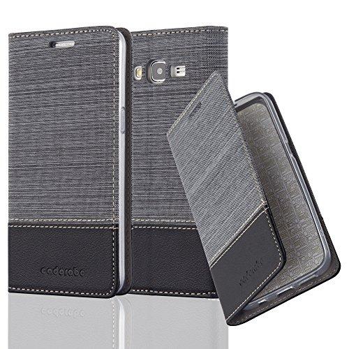 Cadorabo Funda Libro para Samsung Galaxy Grand Prime en Gris Negro - Cubierta...