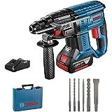 Bosch Professional GBH 18V-20 Martillo perforador, 1 batería x 4,0 Ah, 1,7 J, set de 6 accesorios, 18 V, en maletín, Multicol