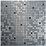 Royllent Moderne Flisen in Mosaik-Muster, Metall-Optik, Aluminium, Abziehen und Aufkleben, Deko für...