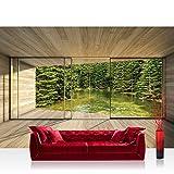 Fototapete 368x254 cm PREMIUM Wand Foto Tapete Wand Bild Papiertapete - Holz Tapete Holzoptik Fluss Wasser Bäume Natur Rahmen Fenster beige - no. 2157