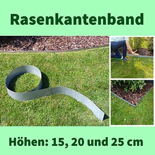 Rasenkantenband Alu/Zink 20 cm hoch Metall Mähkante Beeteinfassung Rasenkante Beetumrandung Palisade 10 Meter