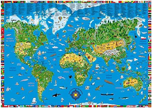 Mapamundi ilustrado infantil en castellano 100x70 cm. Kruger. - 9783981025248