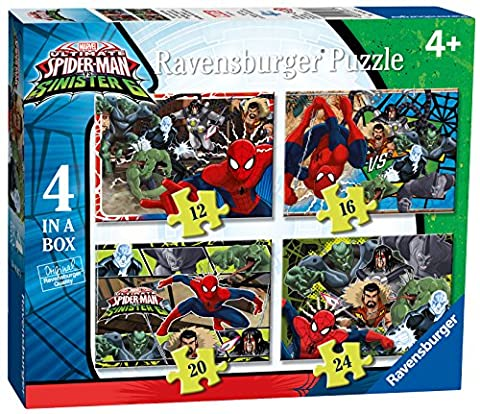 Ravensburger 6867 Marvel Ultimate Spider-Man Vs Sinister Six 4 in a Box Jigsaw Puzzles - 12, 16, 20 and 24 Pieces