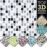 Grandora Fliesenaufkleber 4 Stück 25,3 x 25,3 cm schwarz weiß Silber Fliesenaufkleber Design 1 I 3D Mosaik Fliesenfolie Küche Bad Aufkleber W5423