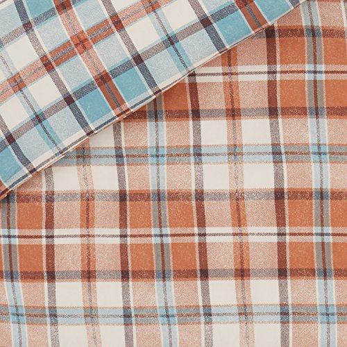 Just Contempo Heritage Tartan Check Duvet Cover Set, Spice Brown/Blue, Single