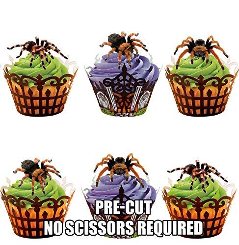 Vorgeschnittene Halloween Tarantula Spinnen - Essbare Cupcake Topper / Kuchendekorationen (12 Stück) (Dekorationen Spinne Halloween)