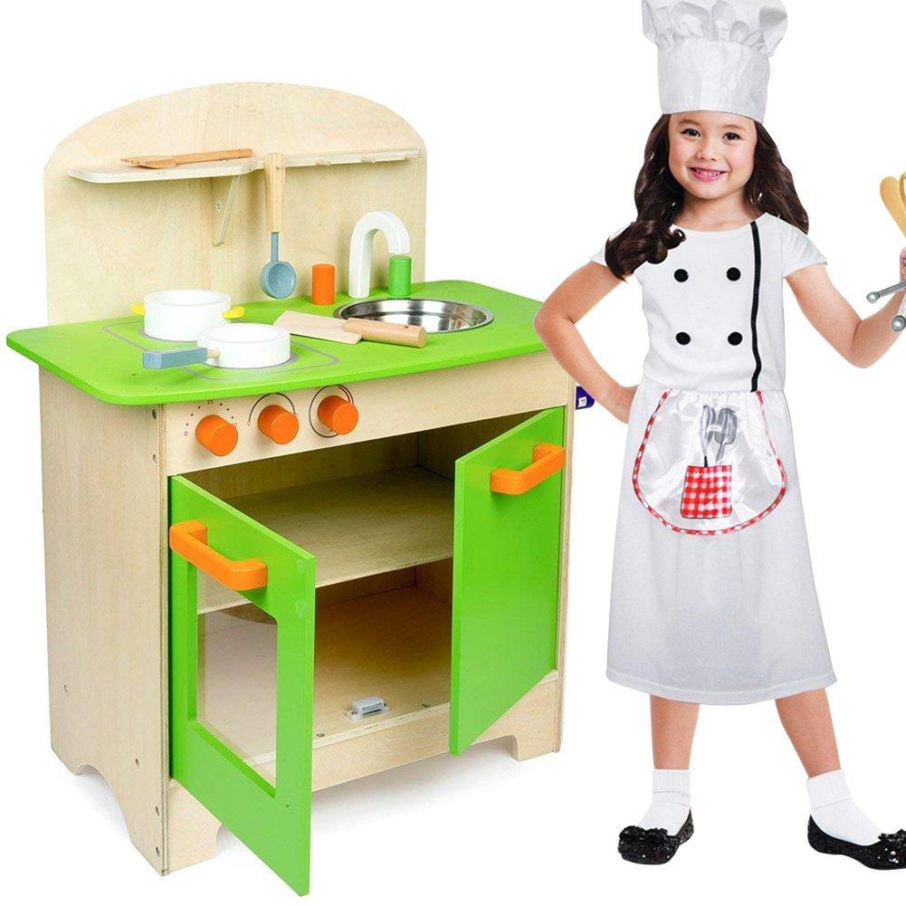 Dimensioni Lavello Doppio Cucina.Bakaji Cucina In Legno Giocattolo Per Bambini Con Lavello In Acciaio