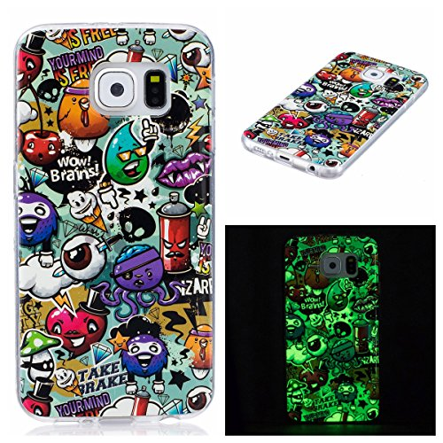 Foto de Funda Galaxy S6, Lifetrut Luminous Noctilucent Glow in the Dark Funda de protección para Samsung Galaxy S6 [Wow brains]
