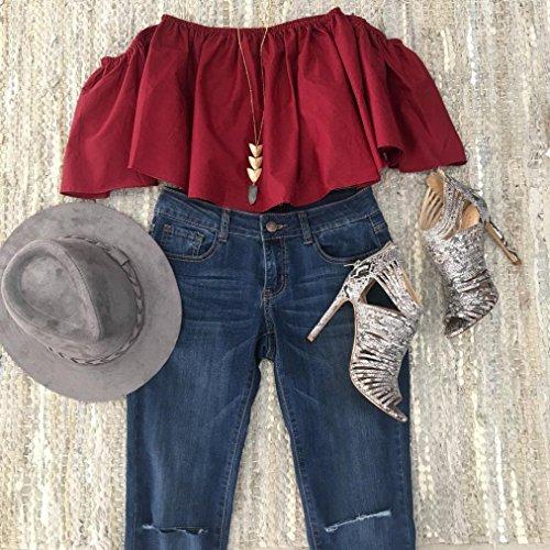 Schön Damen Sommer Aus Schulter Bluse Amlaiworld Oben Beiläufig Bluse T-Shirt Rot