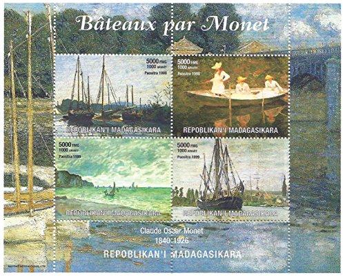 Gemälde von Booten - Claude Monet Oscar großen MNH perforiert Briefmarkenbogen von 4 Briefmarken für Sammler / Madgascar / 1999 (Oscar Souvenirs)