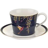 Sara Miller for Portmeirion Chelsea Cup and Saucer, Ceramic Navy, 230 x 185 x 95 cm
