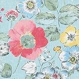 Leinenstoff | Die prachtvollen Blumen - Blumenstoff |Altrosa & Koralle, Taubenblau, Blasse Zitrone, Laubgrüne, Anthrazit & Weiß auf einem blassen Seladongrünen Hintergrund (pro Laufmeter)*
