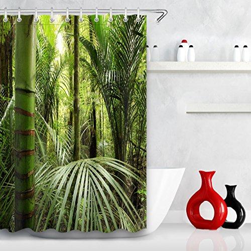 LB Wald,Bambus,Blätter,Grün_Digital Gedruckt Polyester Wasserdicht Bad Duschvorhang 59x71(150x180) (Bambus Bad Blatt)