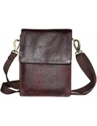 Rich Brown Colour Genuine Leather Sling Bag For Unisex
