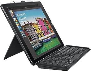 Logitech 920-008434 iPad Pro 12,9Zoll Tastatur-Case (Slim Combo mit Abnehmbarer, beleuchteter kabelloser Tastatur und SmartConnector, QWERTZ Deutsches Tastatur-Layout) Schwarz