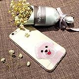 (Sleeping bear) Apple iPhone 5/S/SE Hülle/Case,Niedliches Cartoon Haustier Hund (Bichon Frise) Telefon Schutzhülle Hülle, Elastisch Schutzhülle Dünn, Schlag-Absorptions-Stoßdämpfer, Anti-Kratzer, Weiche Glänzend Transparent TPU Cover + Handy-Lanyard.---Bichon Frise