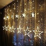 KINGWILL Stern Vorhang Lichter, 12 Sterne 138pcs LED Fenstervorhang Lichter Mit 8 Blinkenden Modi, Dekoration für Weihnachten, Hochzeit, Party, Haus, Terrasse Rasen, Warmes Weiß