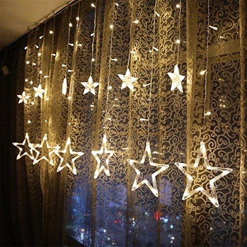 (KINGWILL Stern Vorhang Lichter, 12 Sterne 138pcs LED Fenstervorhang Lichter Mit 8 Blinkenden Modi, Dekoration für Weihnachten, Hochzeit, Party, Haus, Terrasse Rasen, Warmes Weiß)