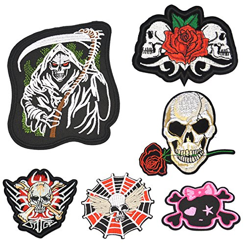 Satkago Patches Zum Aufbügeln Set, 6 Stück Aufnäher Skull Stickerei Applikationen Zum Aufnähen für T-Shirt Jeans Kleidung Taschen Hut Dekor