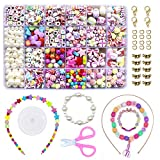 WonderforU DIY Beads for Jewellery Bracelet Necklaces String Making Kit, Friendship Bracelets Art Craft Kit for Girls Kids, 24 Colors
