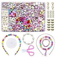 WonderforU DIY Beads for Jewellery Bracelet Necklaces String Making Kit, Friendship Bracelets Art Craft Kit for Girls Kids, 24 Colors