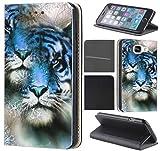 CoverHeld Hülle für Samsung Galaxy S4 Mini Premium Flipcover Schutzhülle aus Kunstleder Flip Case Motiv (1026 Tiger / Löwe Blau Weiß)