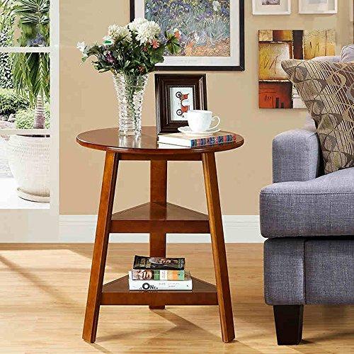 FEI étagères Table ronde en bois massif Table basse ronde simple à côté de la table à café Corner 56 * 67cm ( Couleur : Noyer )