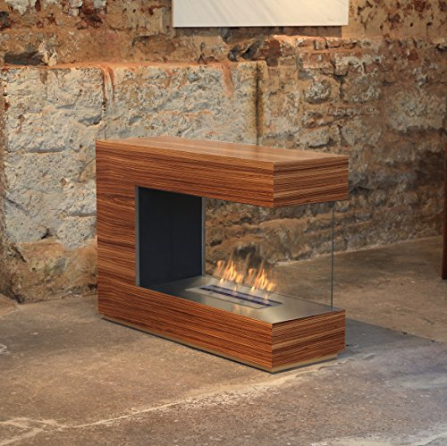 muenkel design loft.line -- C-02 Raumteiler Ethanol Kamin: Holzfurnier