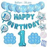 Geburtstagsdeko Blau für Jungen Set:Helium Folienballons Happy Birthday Banner Girlande&Blue Ballon 1 Zahl &20 Blaue Latex Luftballons&4 Stern Ballon für 1 jahr Junge Sohn Geburtstag Party Dekoration