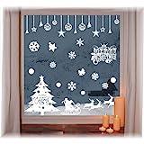 heekpek Pegatinas de Ventana de Puerta de Navidad Blanca Grande árbol de Navidad Santa Claus Pegatina de Navidad Extraíble Vi