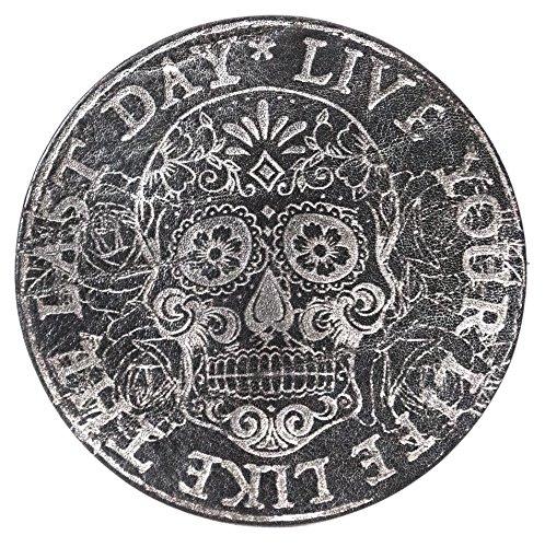 """""""Live your Life"""" Mexican Skull Schwarz, 2er Set,Untersetzer handgearbeitet für Bier, Long Drinks, Whisky, Weinglas, Glas aus 100% echtem Vintage Leder, Kreisdurchmesser ist 11cm"""