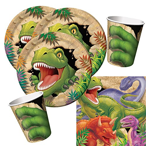 32-teiliges Party-Set Dinosaurier - Dino - Alarm - Teller Becher Servietten für 8 Kinder (Dinosaurier Party Servietten)