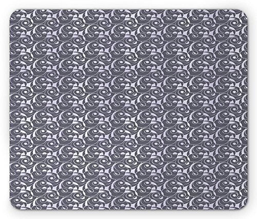 Abstract Mouse Pad, Geometric Retro Pattern with Seashell Inspired Waves and Curls Print, Standard Size Rectangle Non-Slip Rubber Mousepad, Cadet Blue and Pale Grey 9.8 X 11.8 inch -
