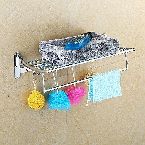 KHSKX Il portasciugamani asciugamano doppio in acciaio inox asciugamano da bagno pieghevole rack multi-purpose attività