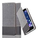 Cadorabo Hülle für HTC Ocean / U11 - Hülle in GRAU SCHWARZ – Handyhülle mit Standfunktion und Kartenfach im Stoff Design - Case Cover Schutzhülle Etui Tasche Book