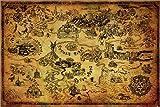 Poster The Legend of Zelda - Hyrule Karte - preiswertes Plakat, XXL Wandposter